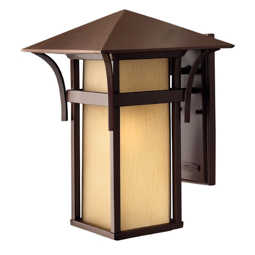 Hinkley Lighting Outdoor Wall Light with Amber Glass in Anchor Bronze Finish 2575AR-GU24