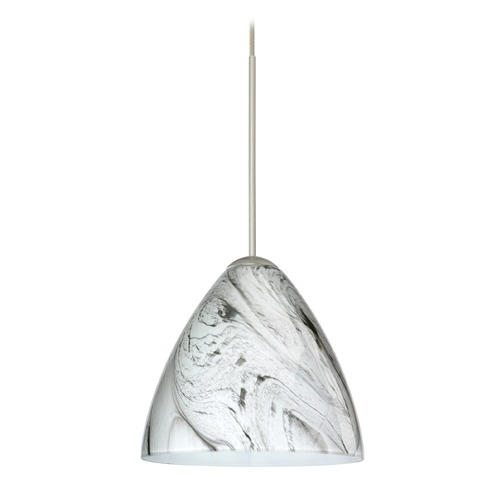 Besa Lighting Besa Lighting Mia Satin Nickel LED Mini-Pendant Light with Bell Shade 1XT-1779MG-LED-SN