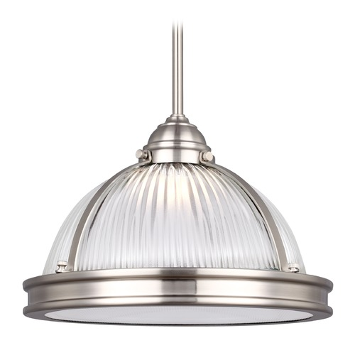 Sea Gull Lighting Sea Gull Pratt Street Prismatic Brushed Nickel LED Pendant Light 6506191S-962