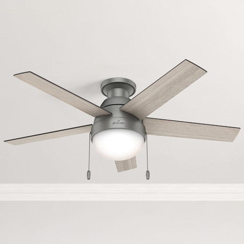 Hunter Fan Company 46-Inch Hunter Fan Anslee Low Profile Matte Silver Ceiling Fan with Light 59270
