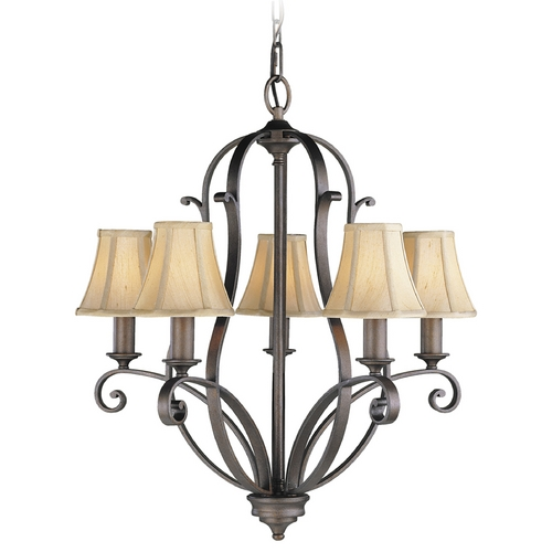 Feiss Lighting Chandelier with Beige / Cream Shades in Corinthian Bronze Finish F1839/5CB