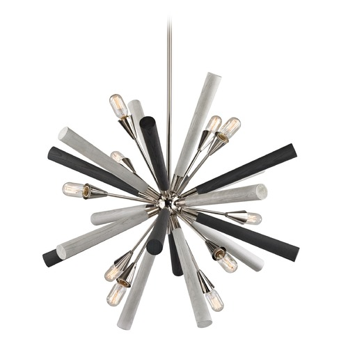 Elk Lighting Elk Lighting Solara Polished Nickel, Grey Washed Woodtone Chandelier 32233/10
