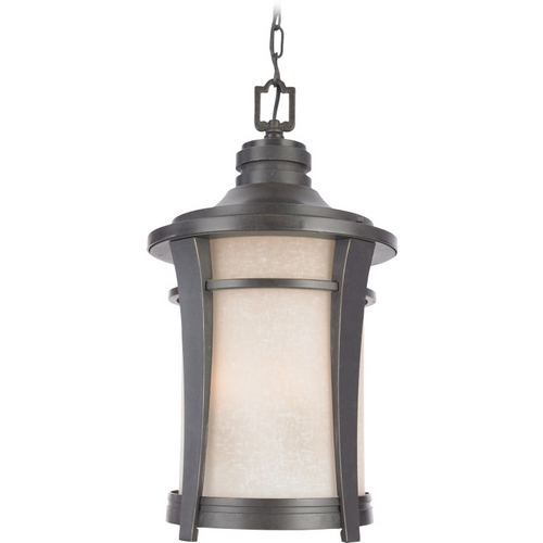 Quoizel Lighting Outdoor Hanging Light with Amber Glass in Imperial Bronze Finish HY1911IB