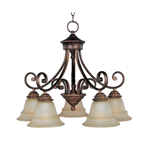 Maxim Lighting Chandelier with Beige / Cream Glass in Oil Rubbed Bronze Finish 11176EVOI