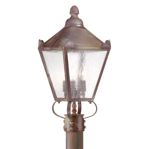 Troy Lighting Post Light with Clear Glass in Natural Rust Finish P8944NR
