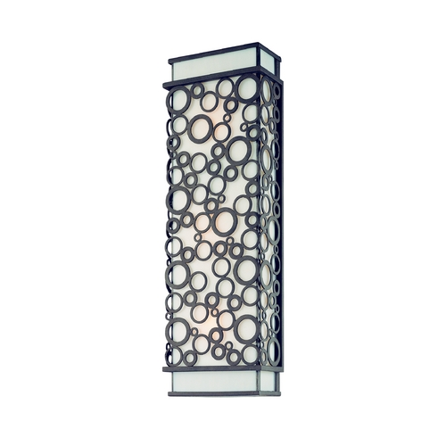 Troy Lighting Modern Sconce Wall Light with White Glass in French Iron Finish B5013FI