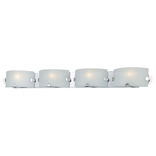 George Kovacs Lighting Modern Bathroom Light with White Glass in Chrome Finish P5254-077