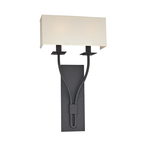 Troy Lighting Sconce Wall Light with White Shades in Federal Bronze Finish B2462FB