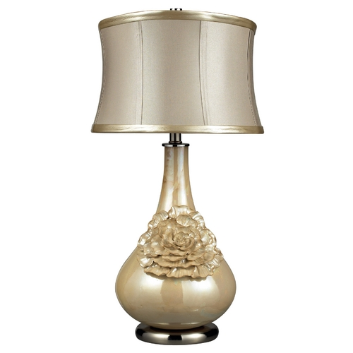 Elk Lighting Table Lamp with Beige / Cream Shade in Pearlescent Cream Finish D2115