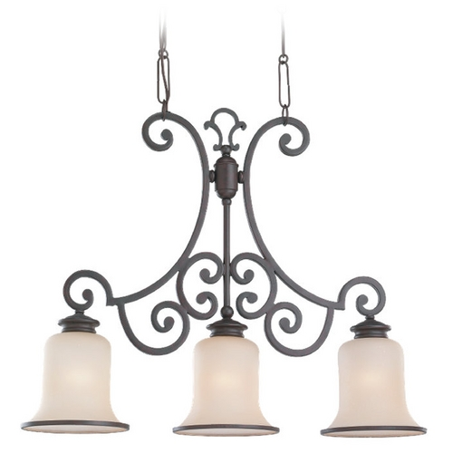 Sea Gull Lighting Island Light with Champagne Seeded Glass in Misted Bronze Finish 66145-814
