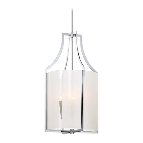 Minka Lavery Pendant Light with White Glass in Chrome Finish 4394-77
