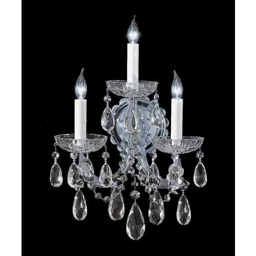Crystorama Lighting Crystal Sconce Wall Light in Polished Chrome Finish 4403-CH-CL-SAQ