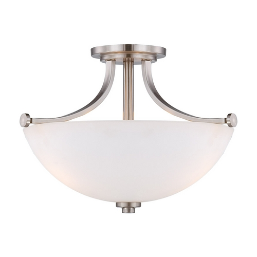 Nuvo Lighting Semi-Flushmount Light with White Glass in Brushed Nickel Finish 60/5017