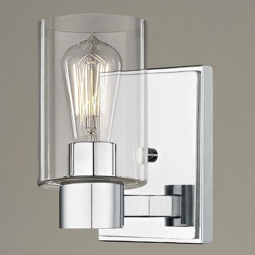 Design Classics Lighting Clear Glass Sconce Chrome 2101-26 GL1040C