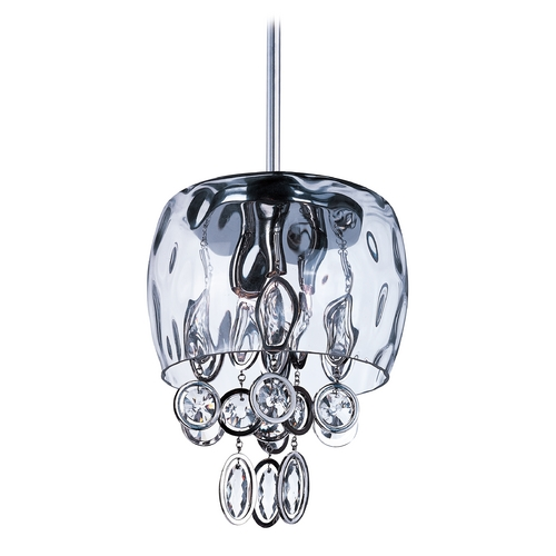 Maxim Lighting Crystal Mini-Pendant Light with Clear Glass 21473WGPN
