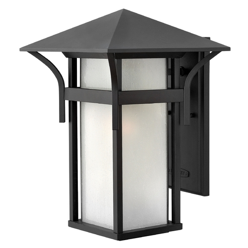 Hinkley Lighting Etched Seeded Glass Outdoor Wall Light Black Hinkley Lighting 2575SK-GU24