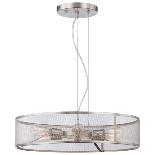 Minka Lavery Downtown Edison Brushed Nickel Pendant Light with Drum Shade 4136-84