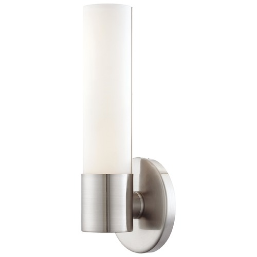 George Kovacs Lighting Modern Sconce with White Glass Shade in Brushed Nickel Finish P5041-084