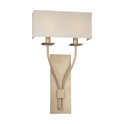 Troy Lighting Sconce Wall Light with White Shades in Silver Leaf Finish B2462SL