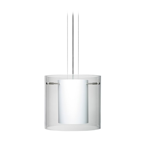 Besa Lighting Modern Pendant Light with White Glass in Satin Nickel Finish 1KG-C18407-SN