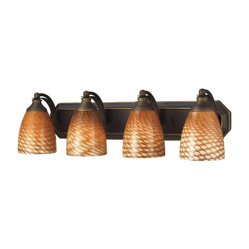 Elk Lighting Bathroom Light with Art Glass in Aged Bronze Finish 570-4B-C