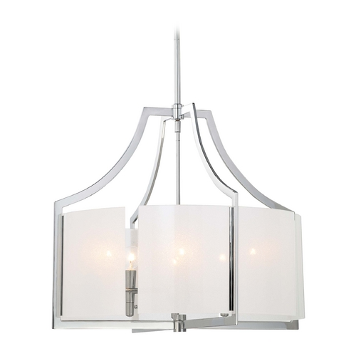 Minka Lavery Pendant Light with White Glass in Chrome Finish 4396-77