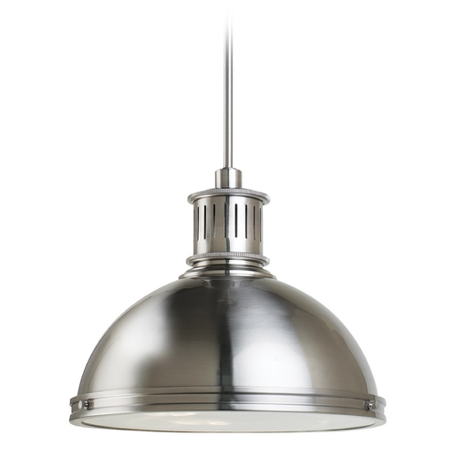 Sea Gull Lighting Farmhouse Pendant Light Brushed Nickel Pratt Street Metal by Sea Gull Lighting 65087-962