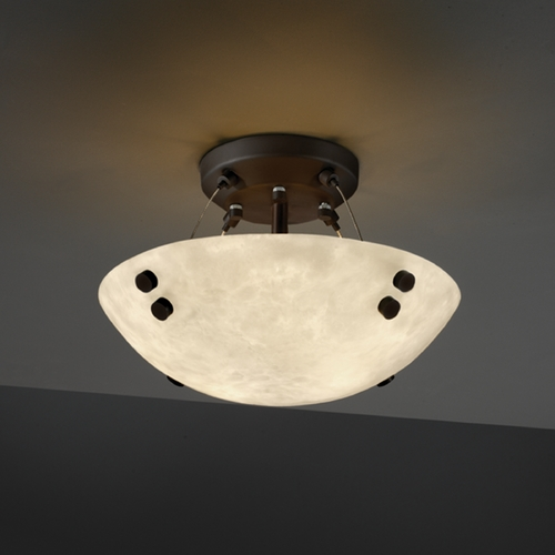 Justice Design Group Justice Design Group Clouds Collection Semi-Flushmount Light CLD-9650-35-DBRZ-F1