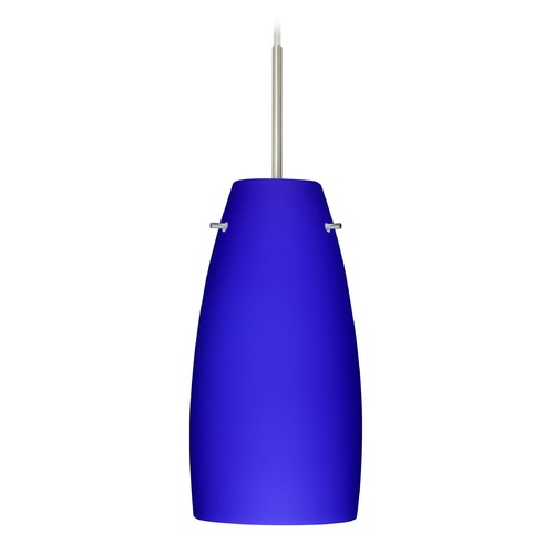 Besa Lighting Besa Lighting Tao Satin Nickel LED Mini-Pendant Light with Oblong Shade 1JT-1512CM-LED-SN