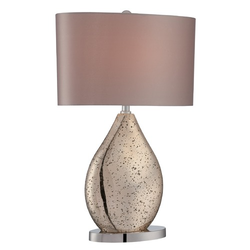 Lite Source Lighting Lite Source Lighting Mandalay Gold Mirror, Chrome Table Lamp with Oval Shade LS-22711