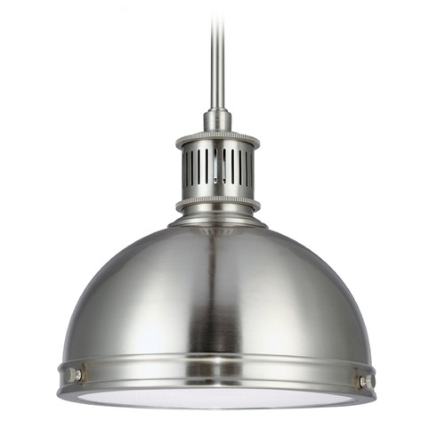 Sea Gull Lighting Farmhouse LED Mini-Pendant Light Brushed Nickel Pratt Street Metal by Sea Gull Lighting 6508591S-962