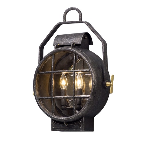 Troy Lighting Troy Lighting Point Lookout Aged Silver with Polished Brass Accents LED Outdoor Wall Light BL5032
