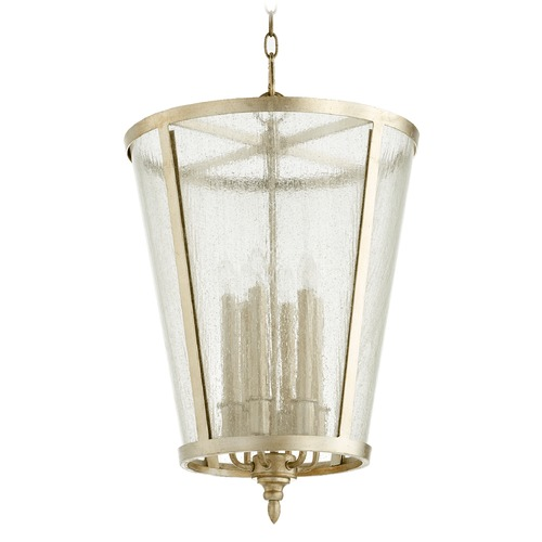 Quorum Lighting Quorum Lighting Aged Silver Leaf Pendant Light with Empire Shade 689-6-60