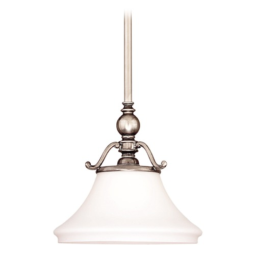 Hudson Valley Lighting Pendant Light with White Glass in Aged Brass Finish 7821-AGB