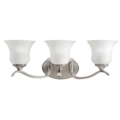 Kichler Lighting Kichler Bathroom Light with White Glass in Brushed Nickel Finish 10638NI