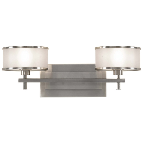 Feiss Lighting Bathroom Light with Silver Shades in Brushed Steel Finish VS13702-BS
