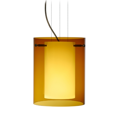 Besa Lighting Modern Pendant Light with Amber Glass in Bronze Finish 1KG-G00607-BR