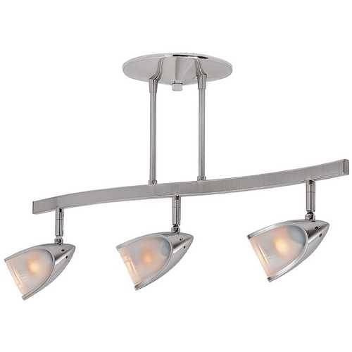 Access Lighting Modern Semi-Flushmount Light with White Glass in Brushed Steel Finish 52030-BS/OPL