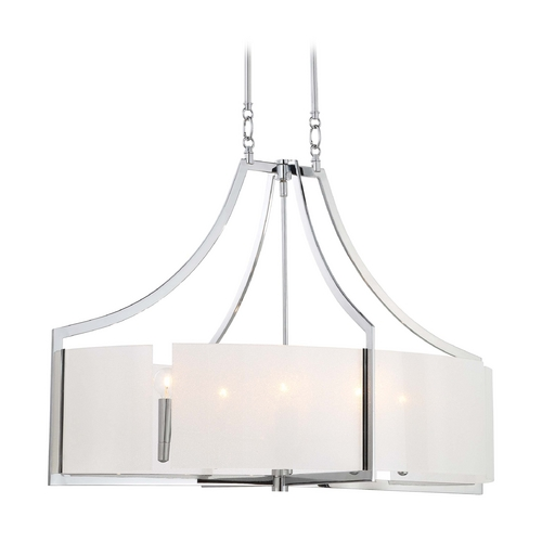 Minka Lavery Pendant Light with White Glass in Chrome Finish 4398-77