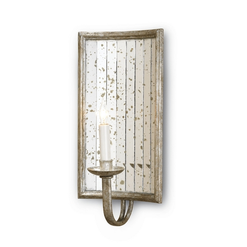 Currey and Company Lighting Modern Plug-In Wall Lamp in Harlow Silver Leaf Finish 5405