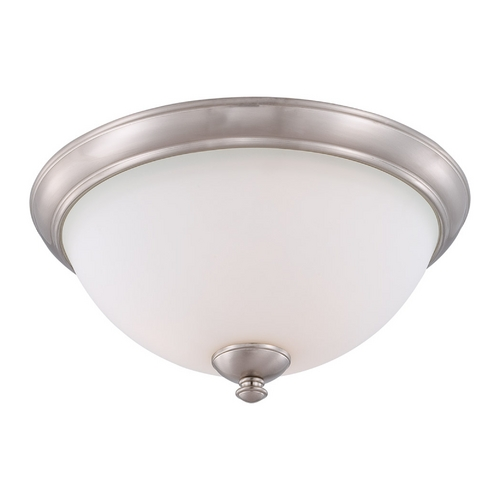 Nuvo Lighting Flushmount Light with White Glass in Brushed Nickel Finish 60/5041