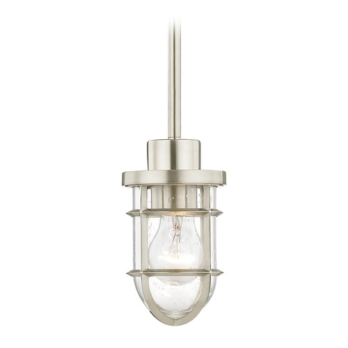 Design Classics Lighting Seeded Glass Mini-Pendant Light with Satin Nickel Cage 1840-09