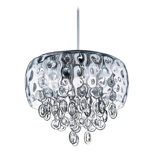 Maxim Lighting Crystal Drum Pendant Light with Clear Glass in Polished Nickel Finish 21475WGPN