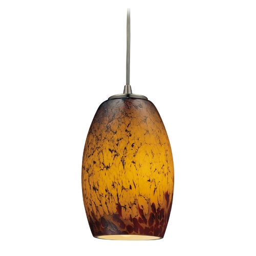 Elk Lighting Modern Mini-Pendant Light with Amber Glass 10220/1SUN-LA