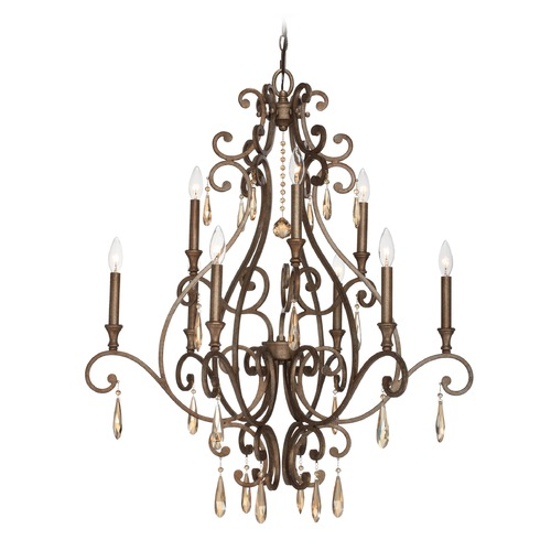 Crystorama Lighting Crystorama Shelby 2-Tier 9-Light Crystal Chandelier in Distressed Twilight 7529-DT