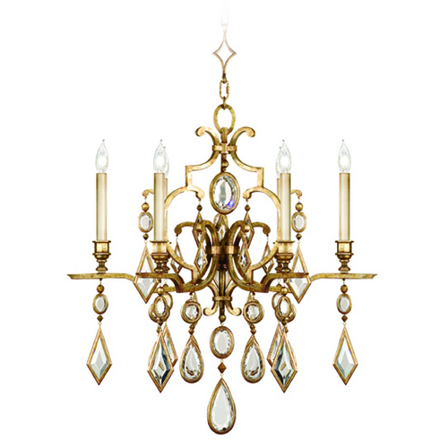 Fine Art Lamps Fine Art Lamps Encased Gems Gold Leaf Crystal Chandelier 729640-3ST