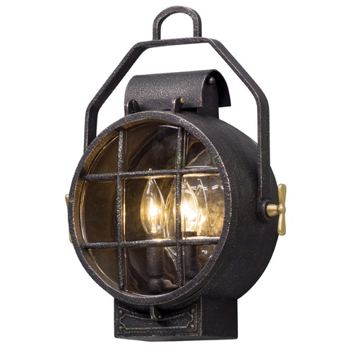Troy Lighting Troy Lighting Point Lookout Aged Silver with Polished Brass Accents Outdoor Wall Light B5031