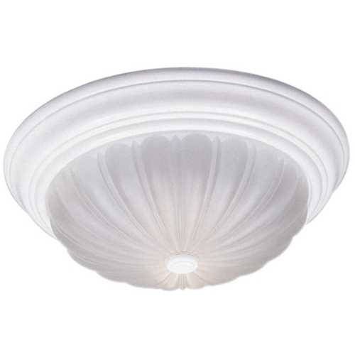 Quoizel Lighting Flushmount Light with White Glass in Fresco Finish ML182WUL
