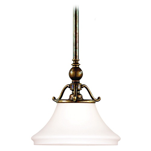 Hudson Valley Lighting Pendant Light with White Glass in Historic Bronze Finish 7821-HB