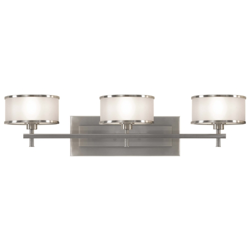 Feiss Lighting Bathroom Light with Silver Shades in Brushed Steel Finish VS13703-BS
